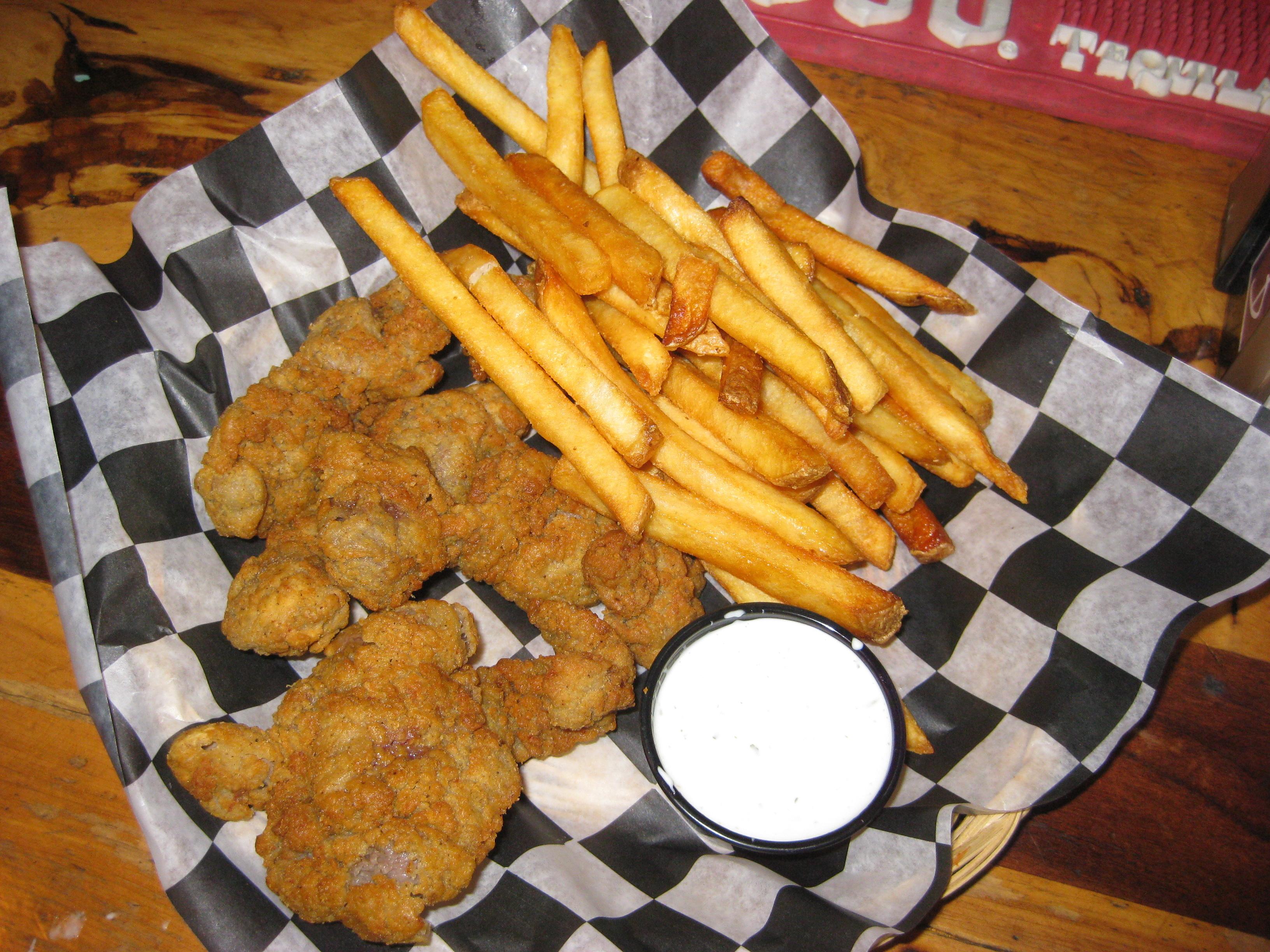 Fried chicken gizzard dinner